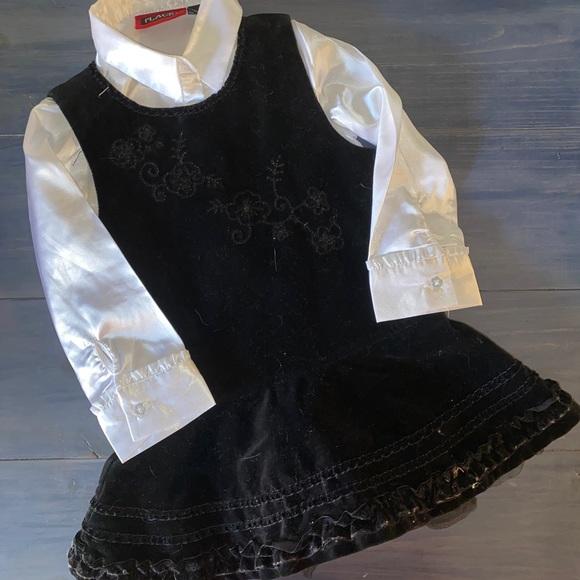 The Children's Pl Velvet Dress W/Satin Undershirt